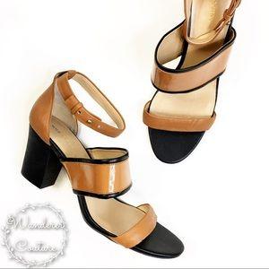 Sole Society Block Heel Black & Tan Sandals